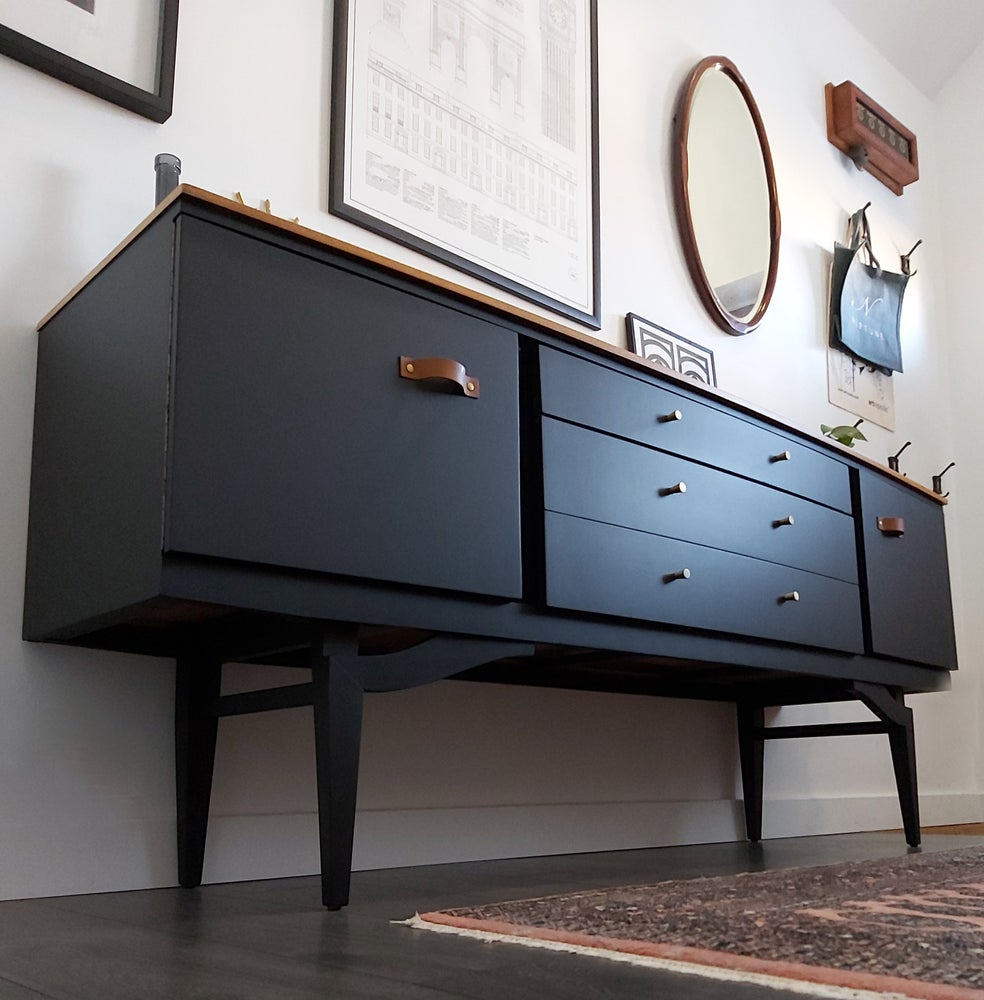 Image of CURVE-FRONTED BEAUTILITY SIDEBOARD IN COAL BLACK