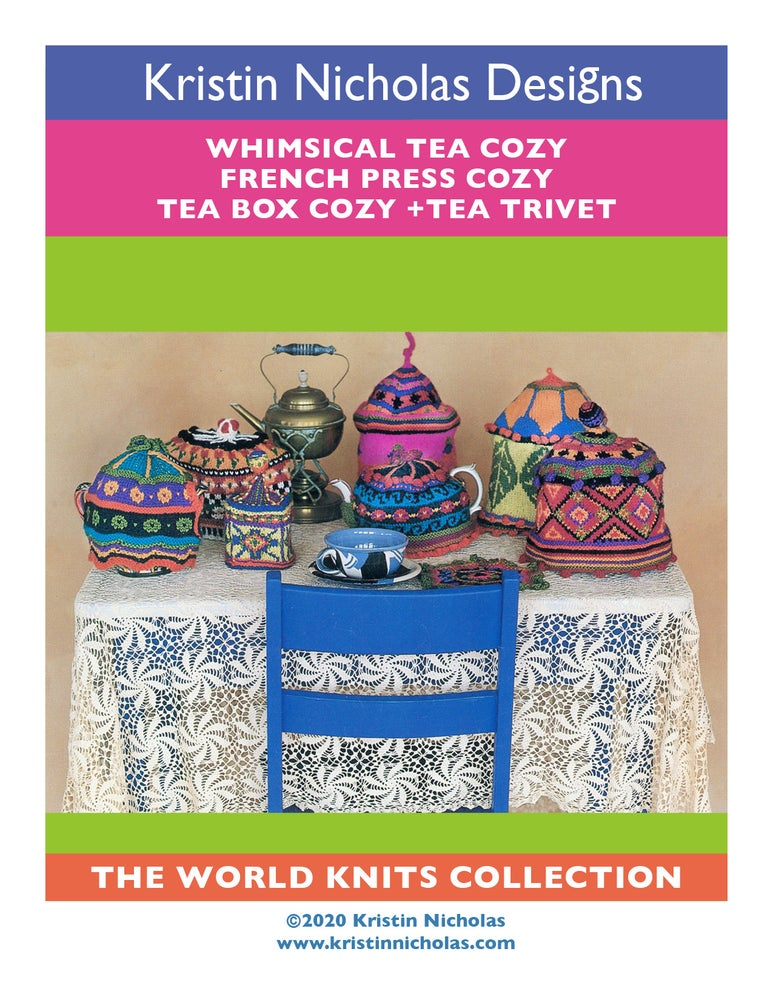 Image of Knit PDF - Whimsical Tea Cozies, French Press Cozy + Trivet / World Knits Collection Download