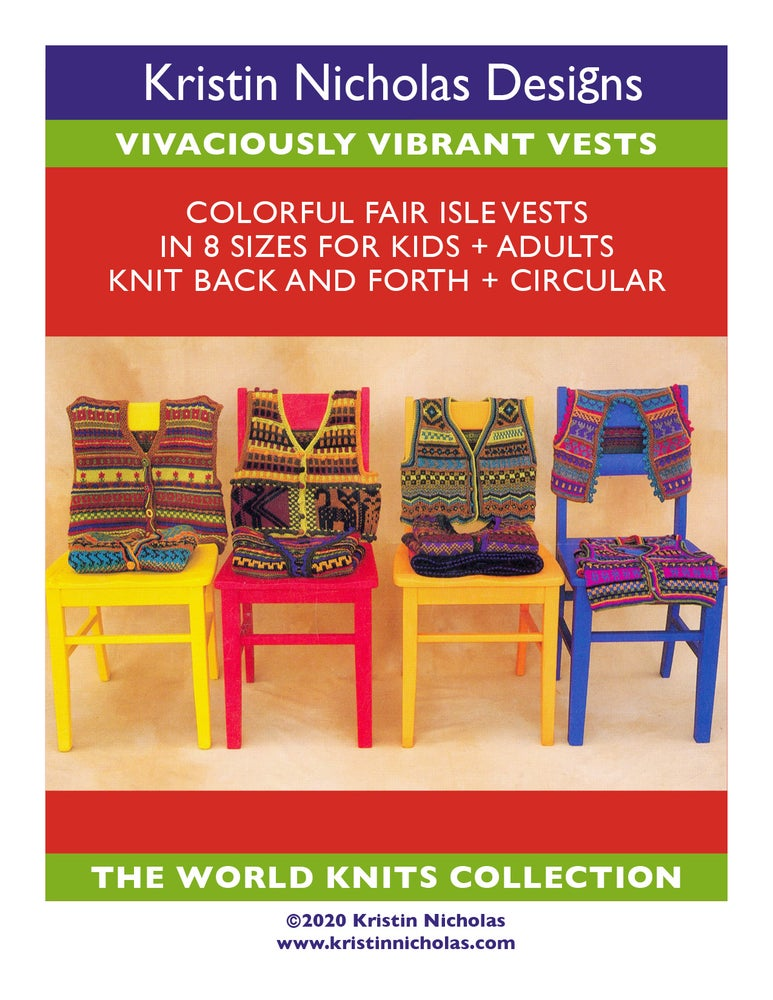 Image of Knit PDF - Vivaciously Vibrant Vests / World Knits Collection Download