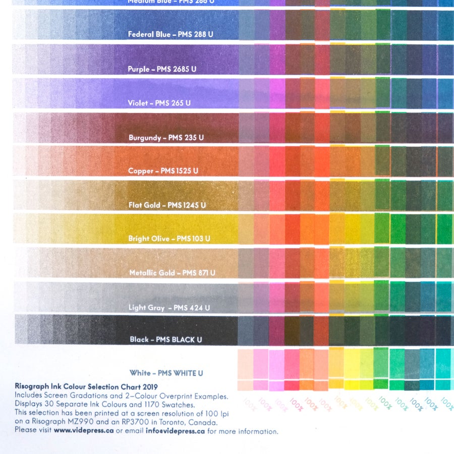 Image of 30-Colour Risograph Overprint Colour Chart