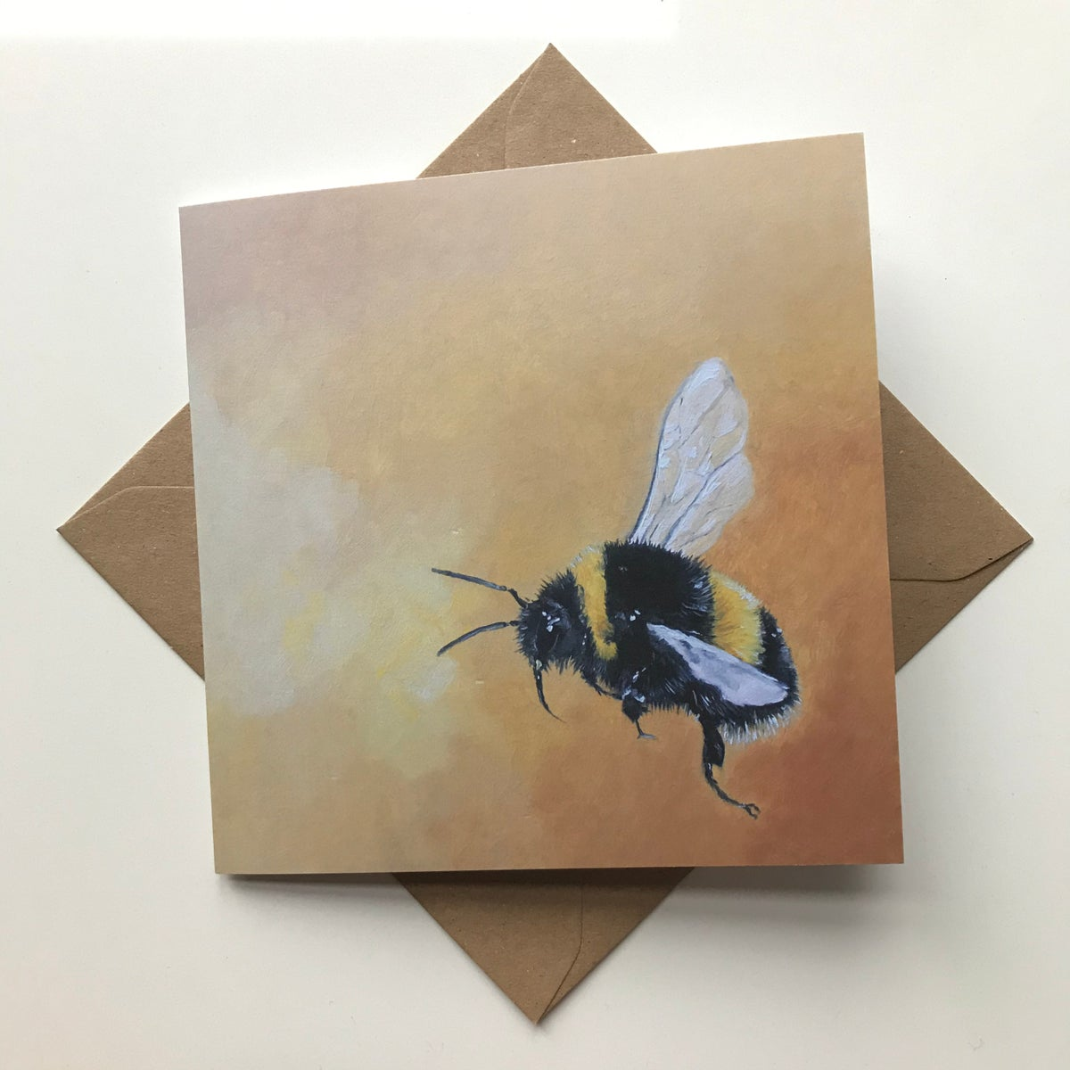 Image of Oil Bumble Bee recycled gift wrap + matching Bee greetings card