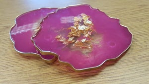 Image of 24K Hot pink Agate Coasters