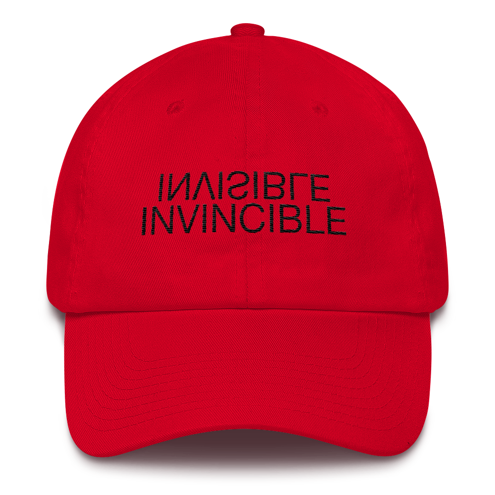 Image of Art Wanderers - Invisible/Invincible Artwork - Unstructured 6 Panel 3D Puff Embroidery Hat - Red
