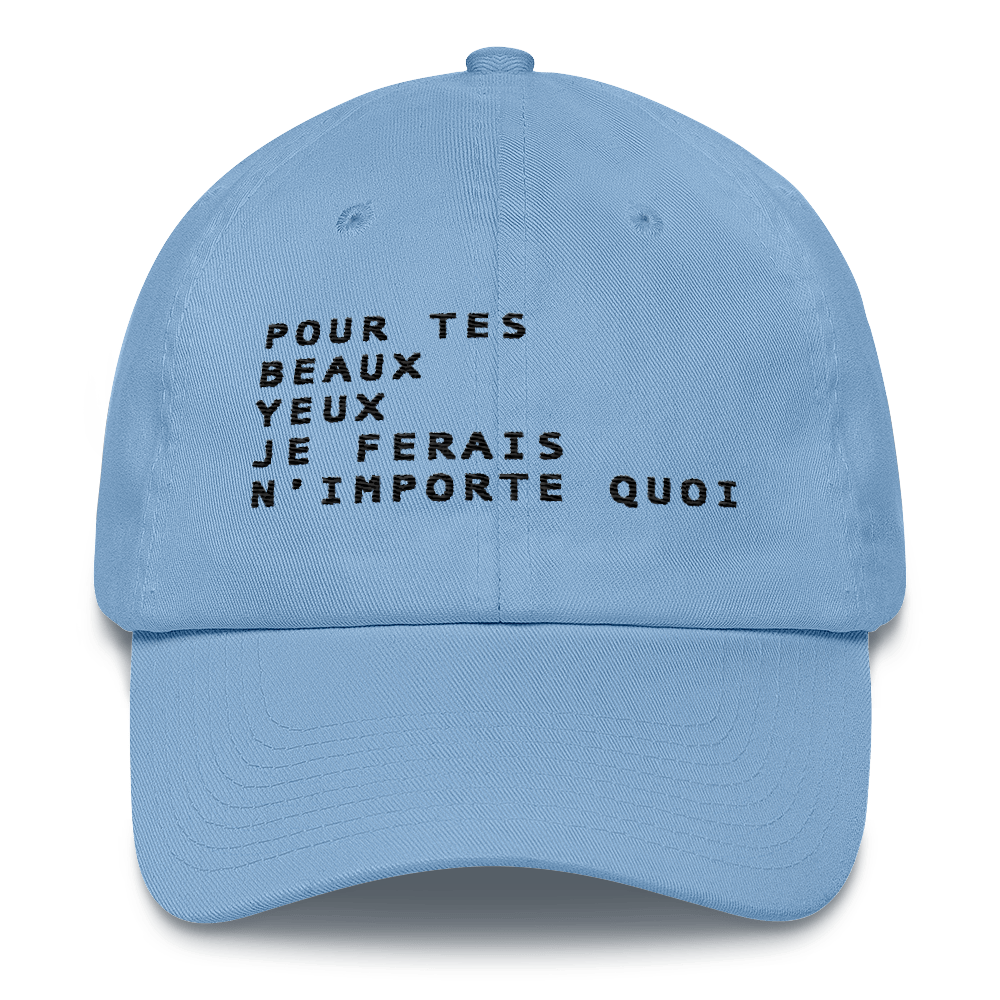 Image of Pour Tes Beaux Yeux Artwork - Unstructured 6 Panel Flat Embroidery Hat - Carolina Blue