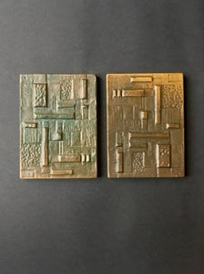 Image of Pair of Cast Bronze Door Handles with Geometric Relief