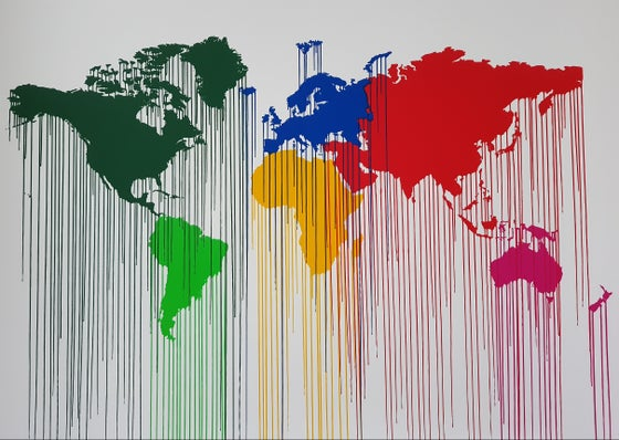 Image of ZEVS - LIQUIDATED ATLAS WORLD WIDE- LIMITED EDITION 75 - 70CM X 100CM - 2013