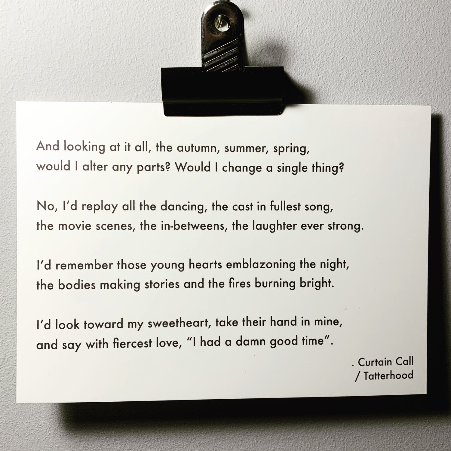 Image of Curtain Call - Poem Postcard (7 x 5 size)