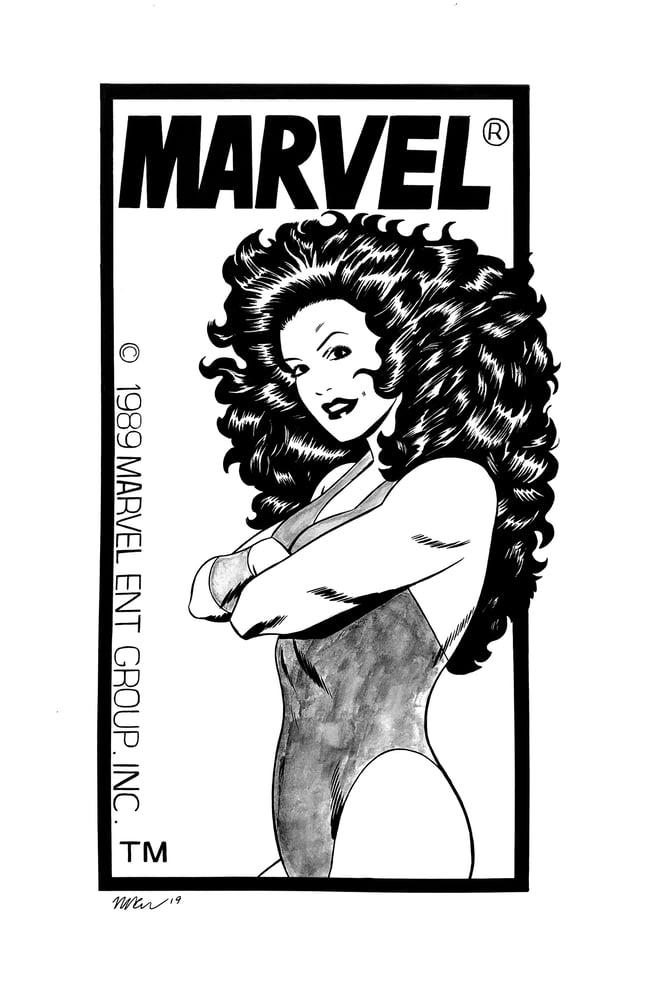 Image of She-Hulk corner box original art