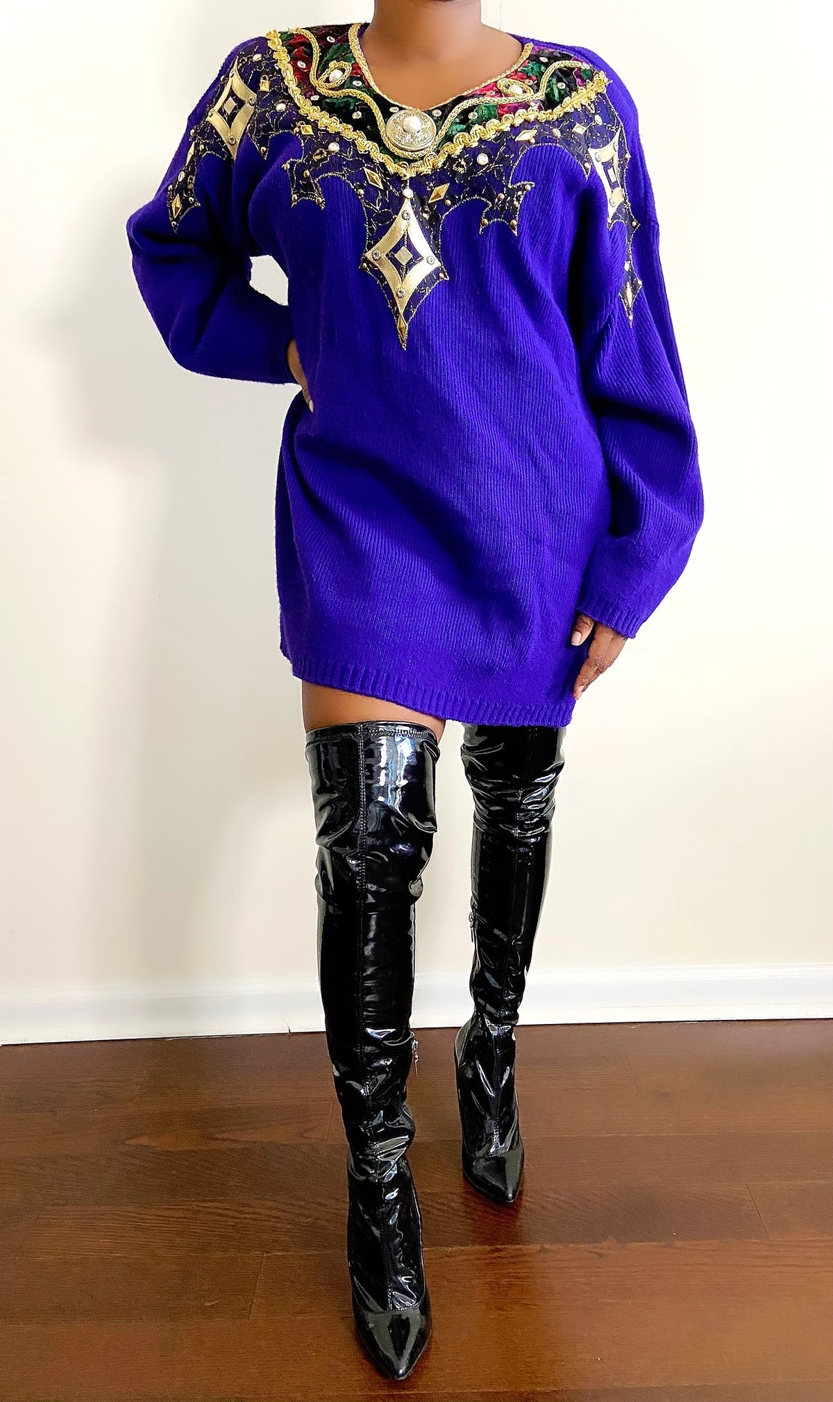 Image of Vintage Ornate Purple Sweater Dress - M/L