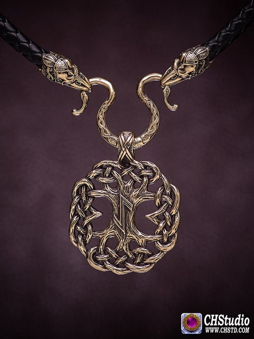 Image of YGGDRASIL : Tree of Life  with Ravens Necklace