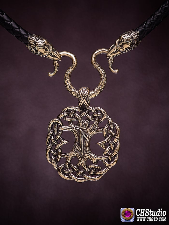 YGGDRASIL : Tree of Life  with Ravens Necklace