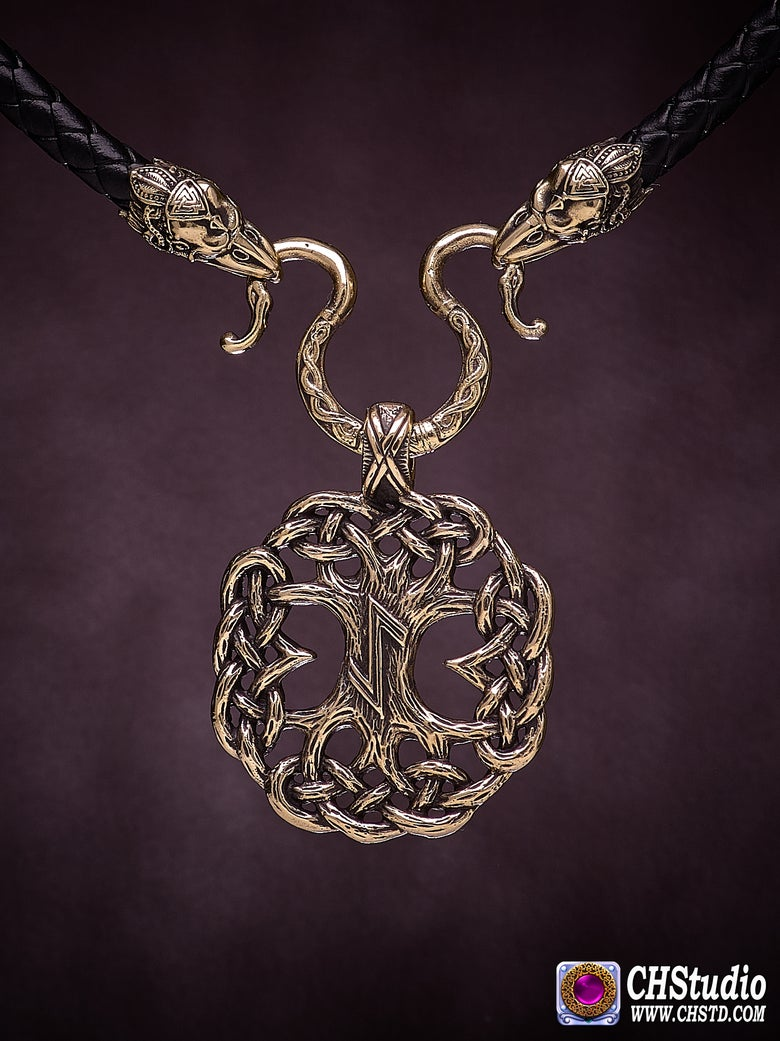 Image of Tree of Life : YGGDRASIL with Raven Heads Necklace