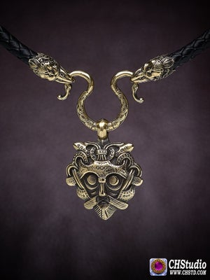 Image of Odin's Mask with Raven Heads Necklace