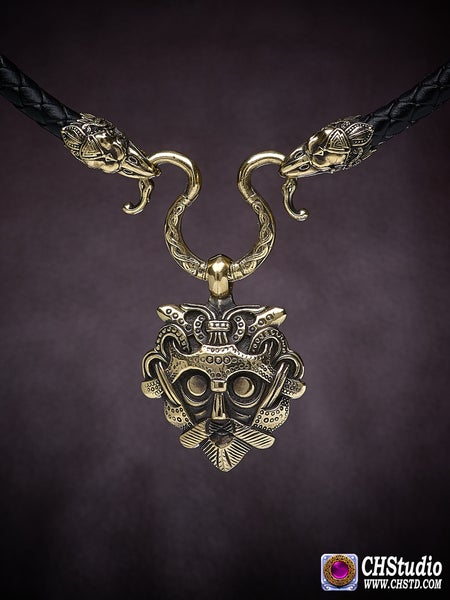 Image of Odin's Mask + Leather necklace with raven heads at the ends ( 6 mm cord).