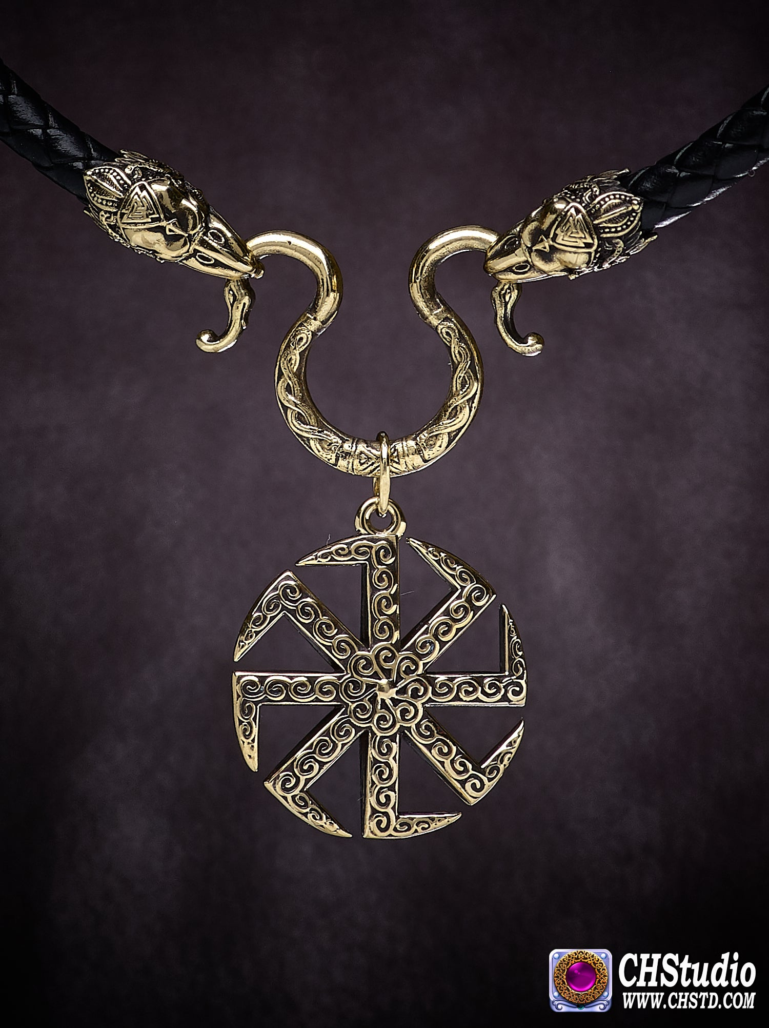 Image of Kolovrat with Raven Heads Necklace