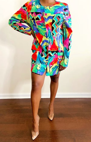 Image of Vibrant 80s Mini Dress - M