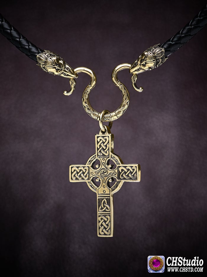 Celtic Cross with Raven Heads Necklace