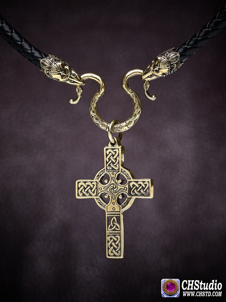 Image of Celtic Cross with Raven Heads Necklace