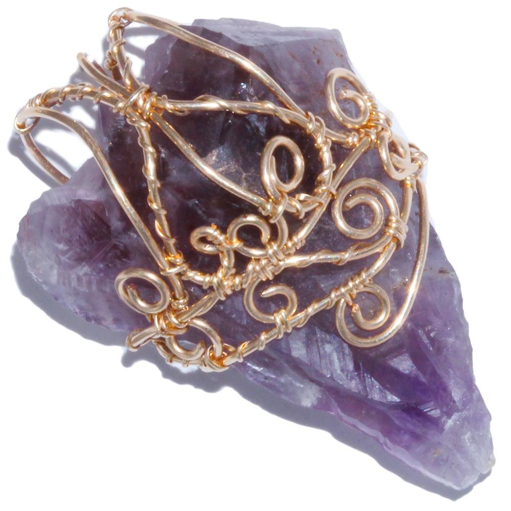 Image of Auralite 23 Crystal Gold Filled Filigree Handmade Pendant