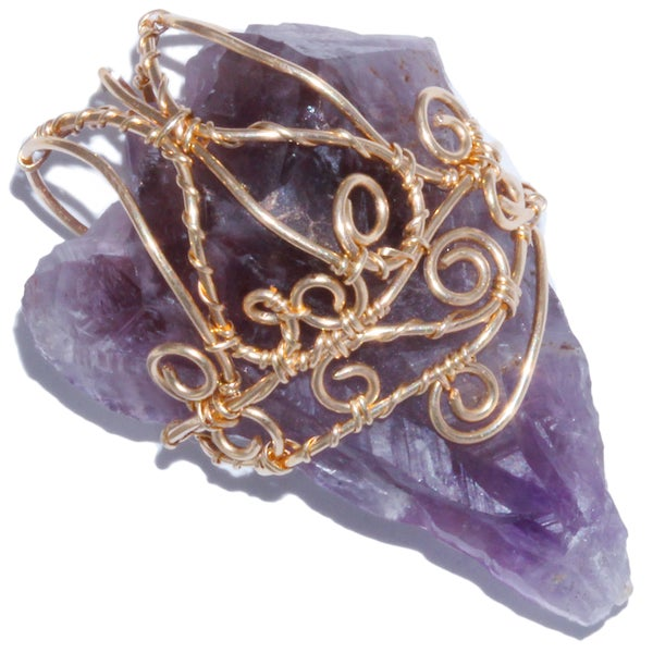 Image of Auralite 23 Crystal Gold Filled Filigree Handmade Pendant