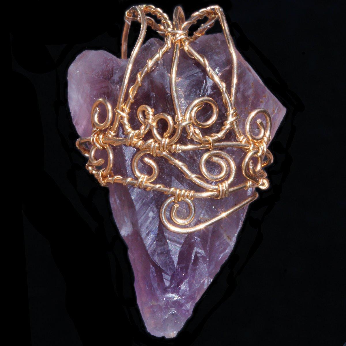 Auralite 23 Crystal Gold Filled Filigree Handmade Pendant