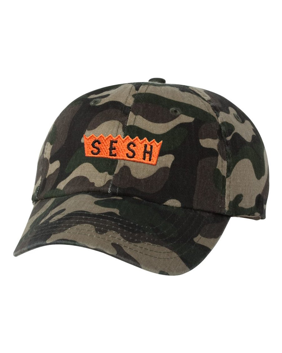 Image of Sesh logo embroidered Camo Hat