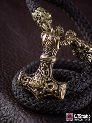 Image of Thor's Hammer : MJOLNIR + Huginn & Muninn Paracord Necklace