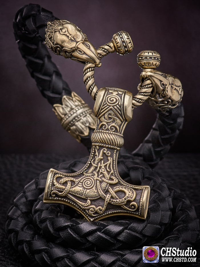 Thor's Hammer : MJOLNIR - Huginn & Muninn Leather Necklace