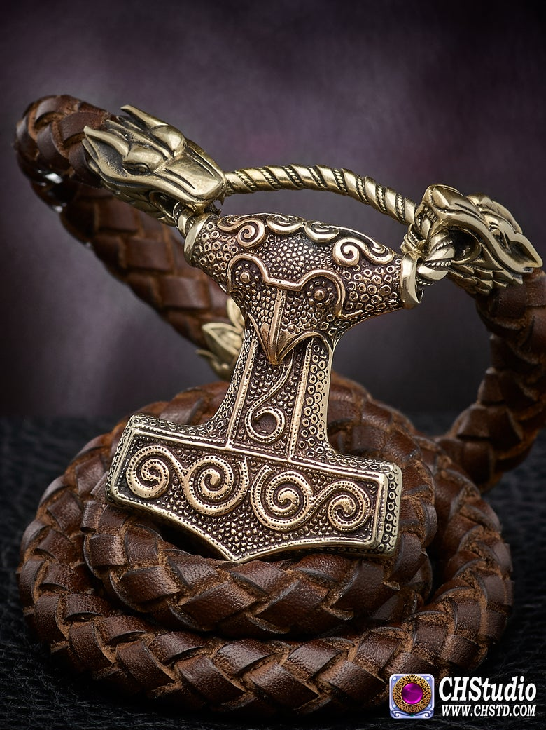 Image of Thor's Hammer MJOLNIR SKANE - Leather Necklace