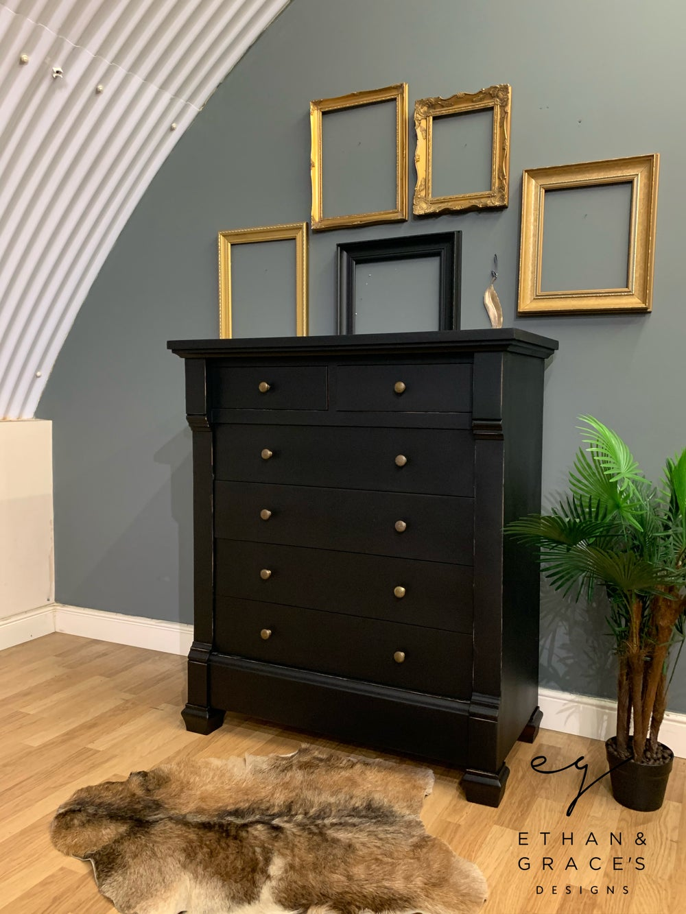 Image of Solid wooden distressed black chest of drawers