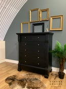 Image 1 of Solid wooden distressed black chest of drawers