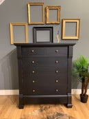 Image 2 of Solid wooden distressed black chest of drawers