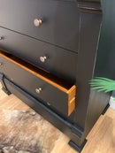 Image 4 of Solid wooden distressed black chest of drawers