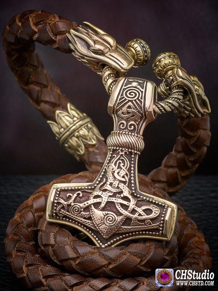 Thor's Hammer : MJOLNIR -  Leather Necklace