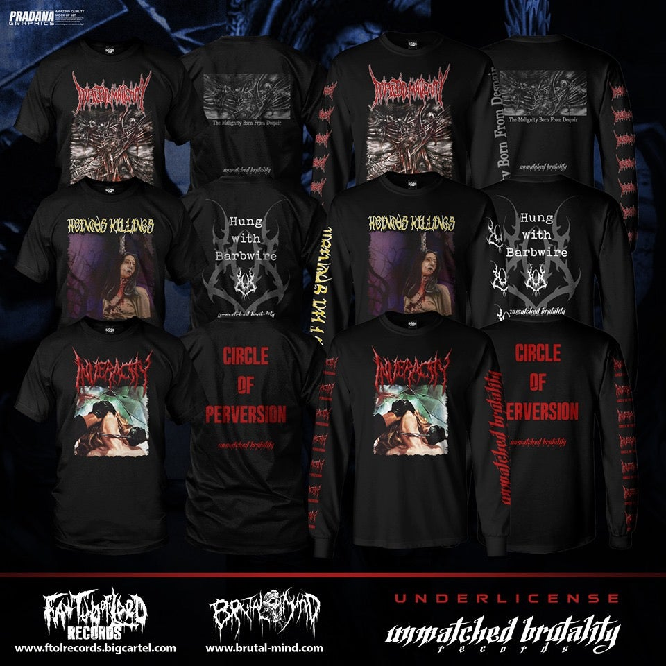 Image of *PREORDER*Officially Licensed Inveracity/InfectedMaglinity/HeinousKillings Short/Long Sleeve Shirts