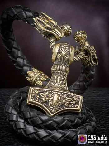 Image of MJOLNIR : Thor's Hammer Leather Necklace