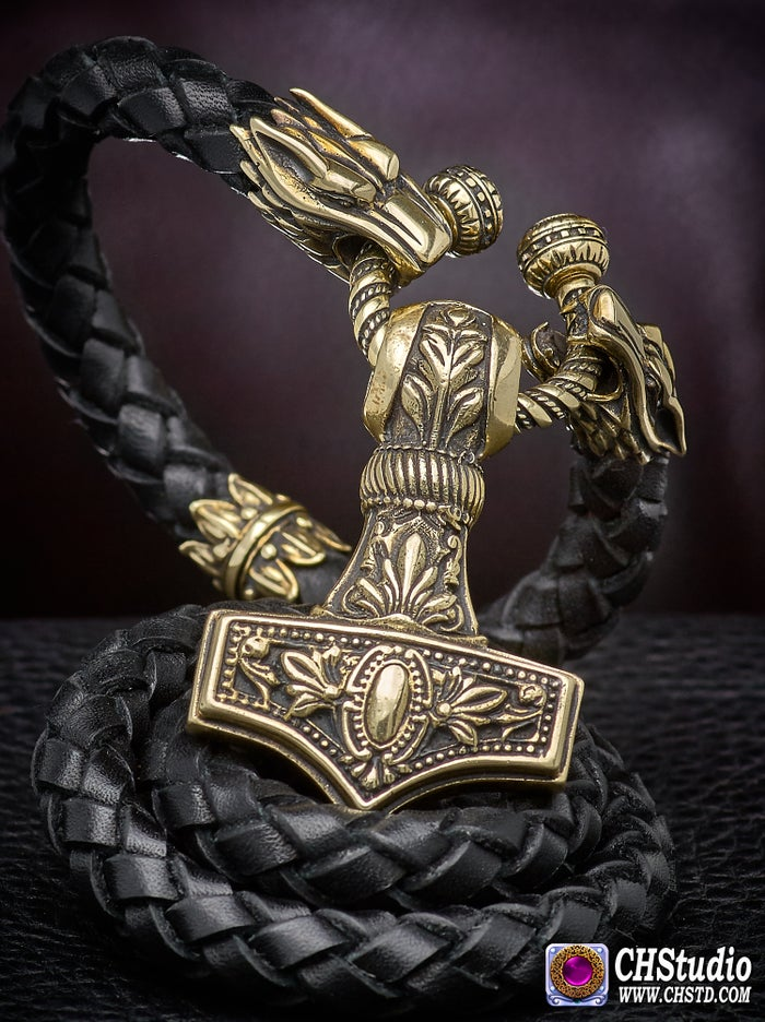 MJOLNIR : Thor's Hammer Leather Necklace
