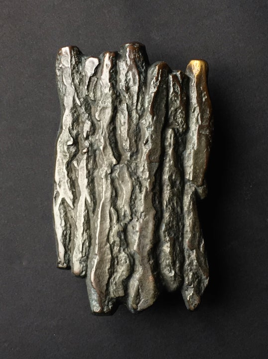 Image of Large Bronze Handle with Tree Bark or Rock Design