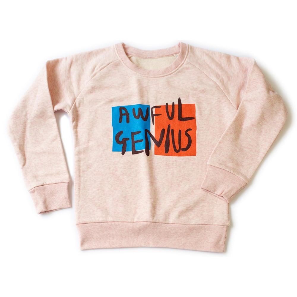 Image of AWFUL GENIUS Kids Sweatshirt (Heather Pink)
