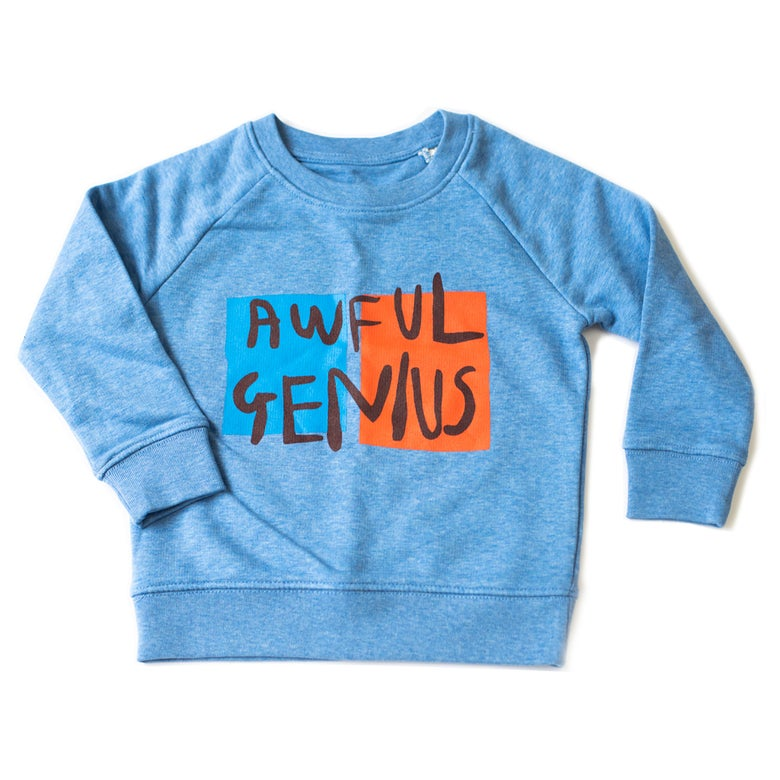 Image of AWFUL GENIUS Kids Sweatshirt (Heather Blue)
