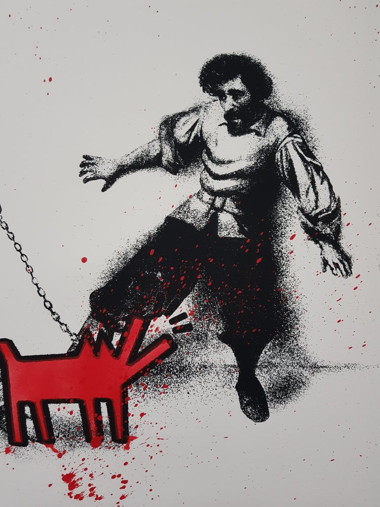 "Image of MR BRAINWASH ""WATCH OUT"" (RED EDITION) HAND FINISHED PRINT EDITION OF 25"