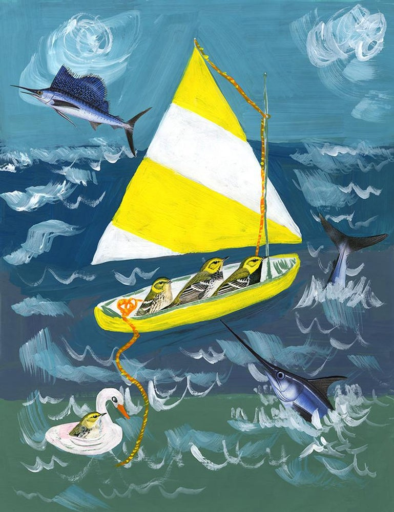 Image of Bird overboard. Limited edition collage print.
