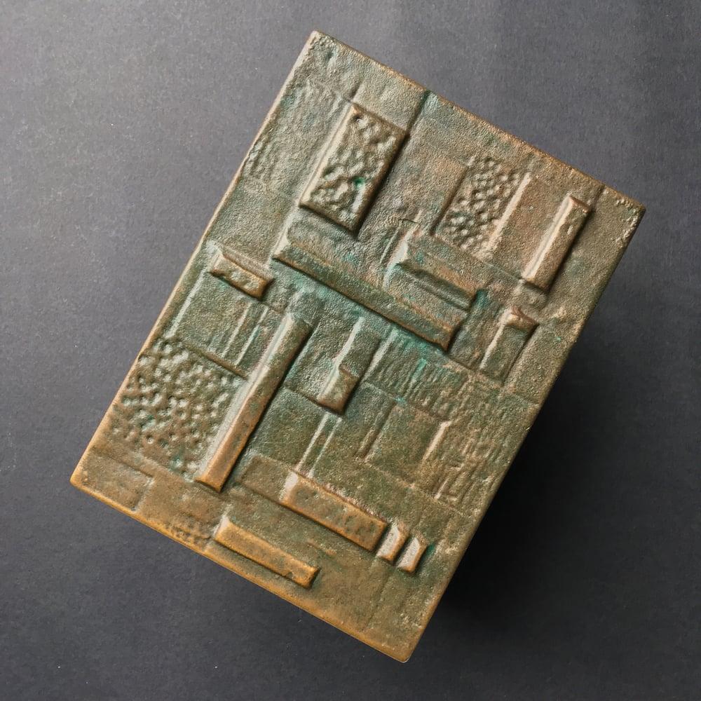 Image of Pair of Cast Bronze Door Handles with Geometric Relief