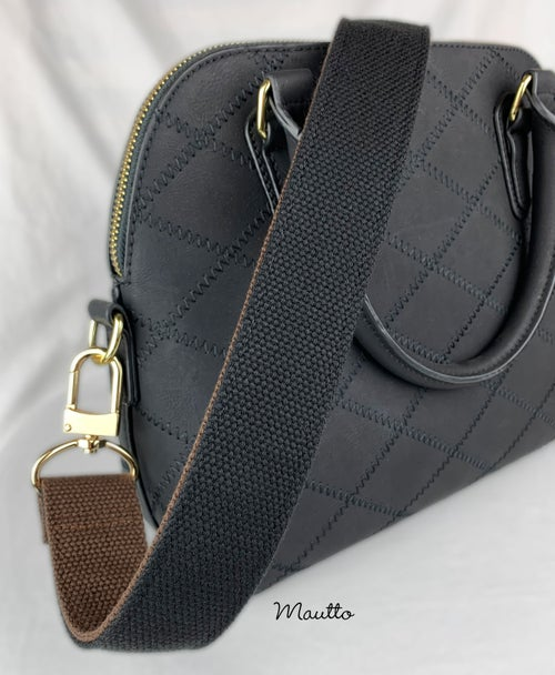 """Image of Wide & Comfy Strap, 2-tone Brown + Black Cotton Canvas, 1.5"""" Wide, Gold or Nickel #16XLG Hooks"""
