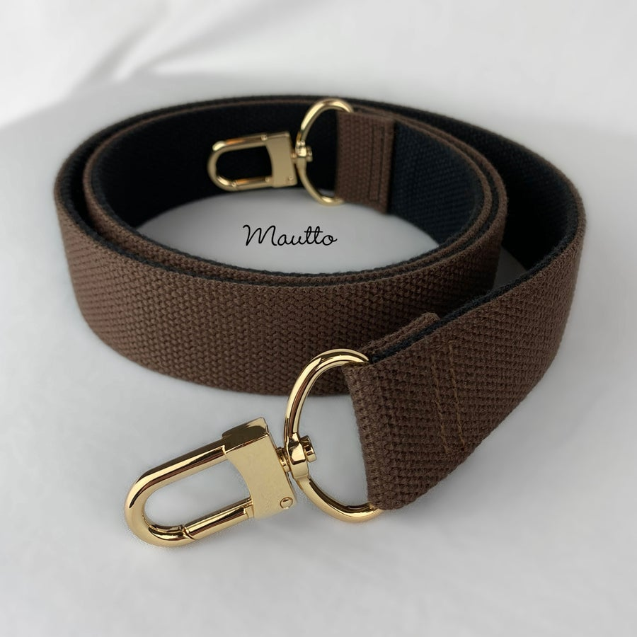 "Image of Wide & Comfy Strap, 2-tone Brown + Black Cotton Canvas, 1.5"" Wide, Gold or Nickel #16XLG Hooks"