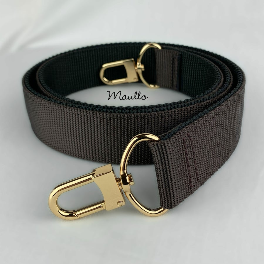 "Image of  Wide/Comfy Strap, 2-tone Dark Brown + Black Nylon, 1.5"" Wide, Gold or Nickel U-shaped #16XLG Hooks"