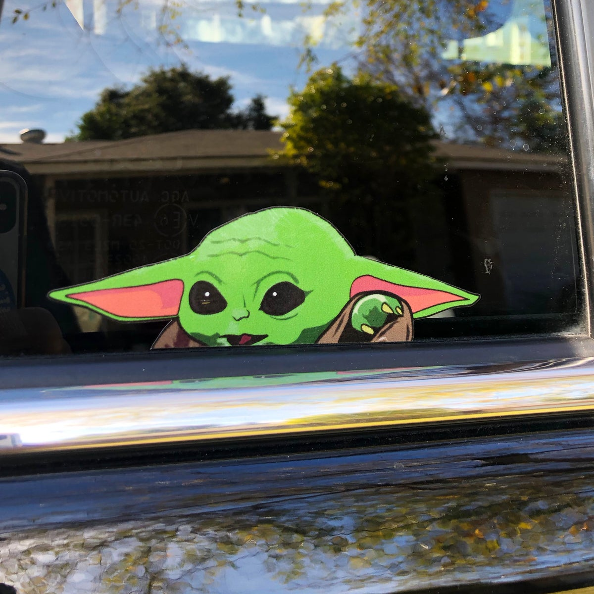 Image of Baby Yoda Peeking Sticker