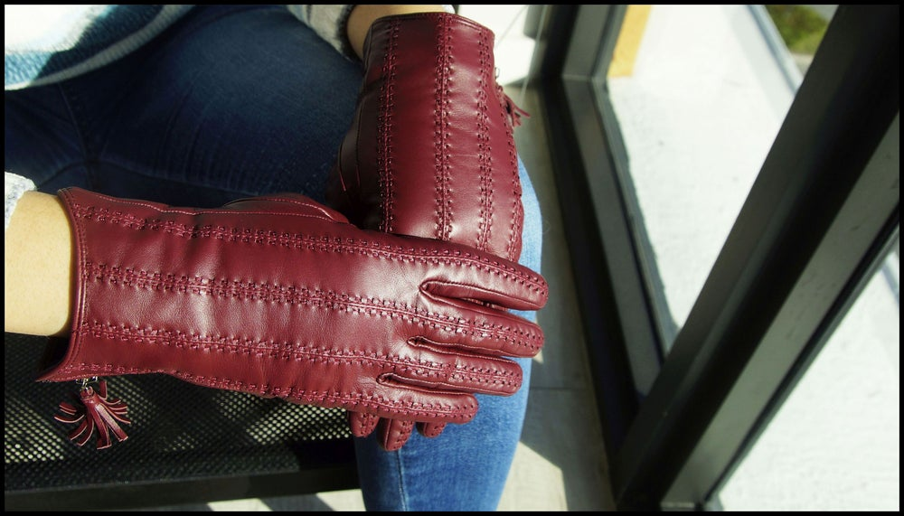 Image of The ACTIVE PALM ➐ ™  'Merlot' - Women's Genuine Touchscreen Leather Gloves