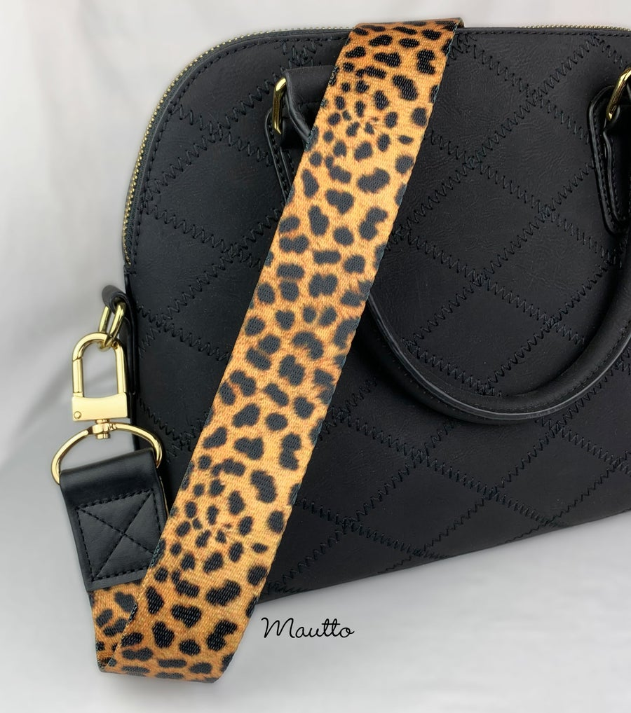 "Image of  Leopard Print Strap - Wide (1.5"") & Comfy - Black Leather Accents - Gold or Nickel #16XLG Clips"