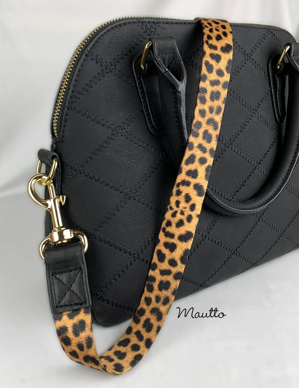 "Image of Leopard Print Strap - 1"" Wide - Black Leather Accents - Gold, Nickel or Gunmetal #19 Clips"